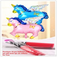 horse decor - Funny Blue Red Pony Foil Balloon m Flying Pegasus Horse Aluminum Film Balloon Romantic Wedding Party Supplies Decor Children Birthday Gift