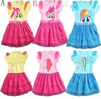 baby ribbon my little pony - 2016 little girls new fashion color gauze dress girls tutu dress My pony kids cartoon princess baby lace sequin dress clothes