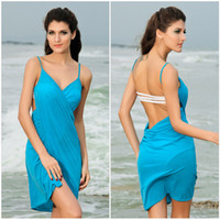 Wholesale Blue Sarongs Cover Up Black Polyester Beach Dress