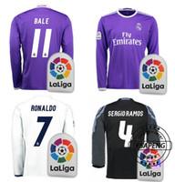 Wholesale Thai quality real madrid long sleeve soccer jerseys Third Black Purple shirts Ronaldo Bale James Kroos Ramos uniforms