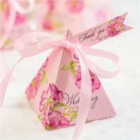 Cheap Top quality Flower Candy Box with Card & Ribbon Pink Purple Wedding Boxes Event Wedding Party Decoration Wedding Supplies