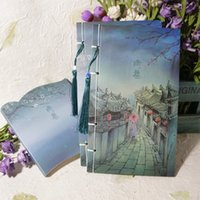 art business books - Retro Art Wire Bound Notepads Handmade Gifts Book Antiquity Watercolor Series Of Dark Colors Lane In the Rain Chinese style NoteBOOKS