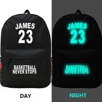 Wholesale Basketball all stars cavalier LeBron James backpacks night luminous schoolbags boys girls sports bags waterproof outdoor packs