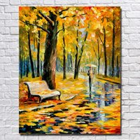 Oil Painting autumn scenery pictures - Autumn Scenery Picture Modern Living Room Decoration Hand Painted Knife Tree Oil Painting High Quality No Framed