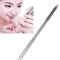 Wholesale 2pcs Pro Blackhead Comedone Remover Acne Blemish Pimple Extractor Tool K00059 SMAD