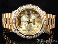 Cheap LUXURY BRAND NEW Automatic Mens 39mm 18k Yellow Gold Mens Presidential  Diamond Bezel Watch 9.5 Ct Watch Men's Watches