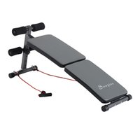 adjustable resistance bands - Folding Weight Bench Adjustable Ab Sit Up Decline Fitness Gray w Resistance Band
