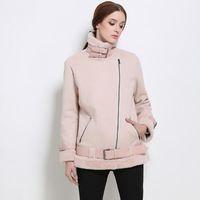 Wholesale Faux Fur Coats for Women Winter Thick Jacket with Zipper Fashion Long Sleeve Casual Jacke Pocket Tops Damen Clothing
