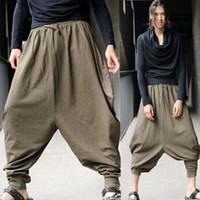 aladdin harem pants - Men s Vintage Green Hippy Boho Aladdin Harem Wide leg Ninja Pants Trousers Cotton Yoga Casual Nepal Mens Full Length Pants