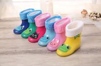 Wholesale 2016 New Design Kids Cartoon Rainboots Brand Girls Antiskid Wellies with Cotton Velvet girls Boys Autumn Winter Warm Rain Boots