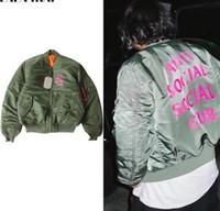 anti sponge - Sponge mice High Quality MA1 Bomber Jackets Fahsion Letter Print Anti Social Social Club Jacket Thick Warm Flight Pilot jacket