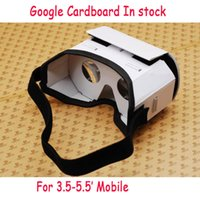 Wholesale 2016 Google Cardboard Virtual reality D glasses the new white cardboard VR headset oculus rift top quality kraft paper DHL free