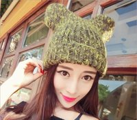 bearing needles - Winter New Female Models Cute Bear Ears Thick Needle Sweater Cuffs Wool Hat Fashion Hats Support