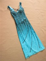 Wholesale In Stock Special Occasion Dresses Deep V Neck Sheath Gardiant Blue Silk Chiffon Hollow Back Heavily Beaded Evening Gown