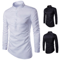 Wholesale Mens new Business Pure Color Mens Single Button Casual Long Sleeve Shirts Male Stand Collar Slim Oblique hem Shirts