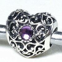 amethyst pandora bead - Authentic Sterling Silver February Signature Heart Charm Bead with Synthetic Amethyst Fit European Pandora Jewelry Bracelets Necklace