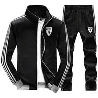 Cheap 2016 Men's Sports Suit Sports Wear White Stripe Sleeve Jacket Men Outdoor Sportswear Tracksuit Set Jacket Men + Pants 4XL