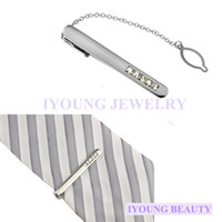 Men's bars crystal mosaic - Trendy Hot Men Tie Clips Mosaic White Crystal Tie Pin Silver Tone Metal Clamp Tie Bar Jewelry Decor Business Necktie