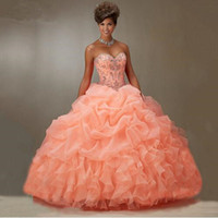 Wholesale Vestidos De Anos Ball Gown Sweetheart Ruffle Organza Puffy Formal Plus Size Peach Quinceanera Dresses New Arrival