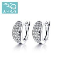 Wholesale 2016 Japan and South Korea new fashion The New S925 silver Three rows of diamond Cword earring Inlay zircon