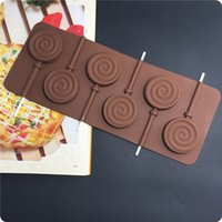 Wholesale New Sale6 Holes Lollipop Ice Chocolate Making Tools Silicone Cake Mold Candy Jelly Soap Modeling Mould A