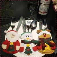 Wholesale 2014 Hot Sale Christmas Santa Kitchen Cutlery Suit Holders Porckets Knifes and Folks Bag Snowman Shaped