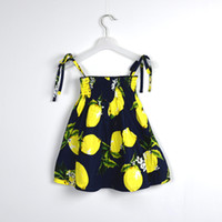 baby dresses designs - New design Baby Print Lemon fruit Sling Dresses Kids Girl Summer Dress Baby Girl Fashion cottton Dress E1054
