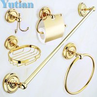 Wholesale solid brass GOLD Bathroom Accessories Set Robe hook Paper Holder Towel Bar Soap basket bathroom sets YT G