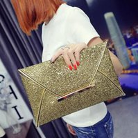 Wholesale Fashion Charming Women Evening Party Bags Gold Sequins Bag Purse Clutch Handbags Envelope Party Purse Clutch Handbag Colors