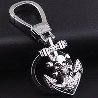Wholesale Personality Metal Key Chain Skull Keychain Emblem KeyringS with Anchor Easter Halloween Key Selling Gifts Metal Accessories Prices