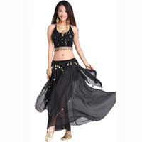 belly dancing kit - Black Belly Dance Dancing Costume Handmade Chiffon Five Flower Bra Top Cloth Kit Long Skirt with Coins