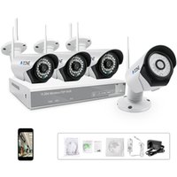 Wholesale A ZONE CH Stock in US P Wireless CCTV Security Camera kit QR Code Connection Four TVL Weatherproof Wifi Surveillance Cameras
