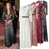 Wholesale New Very Pretty Women Dark V Sexy Slim Maxi Lace Runway Dresses Sleeve Brand Style Fashion Summer Clothing Colors S XXL