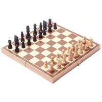 Wholesale Vintage Wooden Pieces Chess Set Folding Board Box Wood Hand Carved Gift Kids Toy High Quality