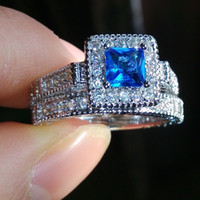 Taille 6/7/8/9/10 Bijoux Aquamarine Diamonque or 10kt rempli mariage cadeau Ring Ring