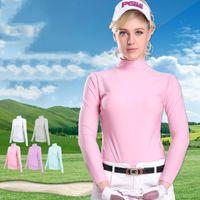 Wholesale PGM NEW Womens Summer Outdoor Sport Clothing Viscose Shirt Underwear Golf Sunscreen UV Ice T shirts Long Sleeve Clothes Golf Apparel