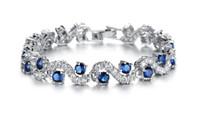 Wholesale Fashion EU Style Platinum Plated Crystal Stone Bracelets Women s Luxury Romantic Wedding Cubic Zirconia Woman Bracelets Classical Design