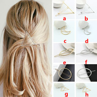 Wholesale New Charm Geometric Triangle Moon Hairpins Hair Clip Women Girls Gold Silver Hair Accessories Tools Gifts Style ZJ H03