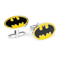 Wholesale Europe selling men s cufflinks Price Hot Sale High Quality Fashion Batman Suit Shirt Novelty Cufflink For Men Enamel CuffLink Discount Cuff