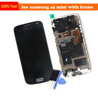 Wholesale For Samsung Galaxy S4 mini gt I9190 i9192 i9195 LCD Display Touch Screen Digitizer Assembly with frame