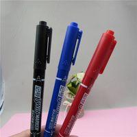 Wholesale 2PCS LOTWholesale hobby small double headed mark pen hook line pen multi functional oil pen CD black blue red