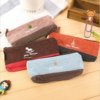 Cheap 2016 new cotton and linen time stationery bag fashion simple pencil bag zakka cute creative pen bag factory direct free shipping