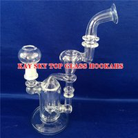 bending decorations - 3 Layer Filter Glass Bongs Bent Type Percolator Transparent Hookahs Glass Bong Water Pipes with Joint Recycler for Decoration KT YQ006