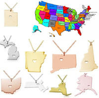 alaska gifts - 2016 America State Map Pendant Necklaces With Heart DIY State Pendent Necklace Stainless Steel Jewelry Alaska State New York State