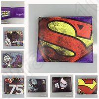 batman clutch wallet - 22 design LJJK132 Marvel DC Comics Iron Man Batman Spider Man Superman Character Billfold Clutch Handbag Wallet