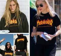 Wholesale Brand Clothing ulzzang T Shirts Supre Joint Thrasher MAGAZLINE Flame shirts hip hop men t shirt Women Men Couple Fashion t shirt