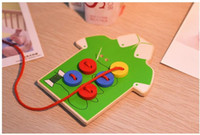Wholesale Kids Montessori Educational Toys Children Beads Lacing Board Wooden Toys Toddler Sew On Buttons Early Education Teaching HY743