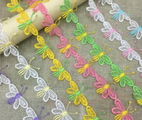 apparel trims - 20Yard Embroidered Butterfly Lace Cotton Fabric Trim For Sewing Apparel Dress Doll Cap DIY Type