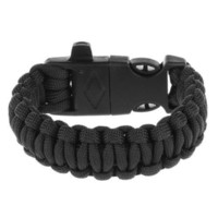 adventure bracelet - New Survival Paracord Bracelet Adventure Gear rescue black Flint Fire Starter Whistle Flint Fire Starter Kits blade outdoor
