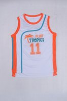 Wholesale 11 White Jackie Moon Flint Tropical Throwback Jerseys Retro Basketball Movie Jersey Cool Shirt Stitched Jersey Man